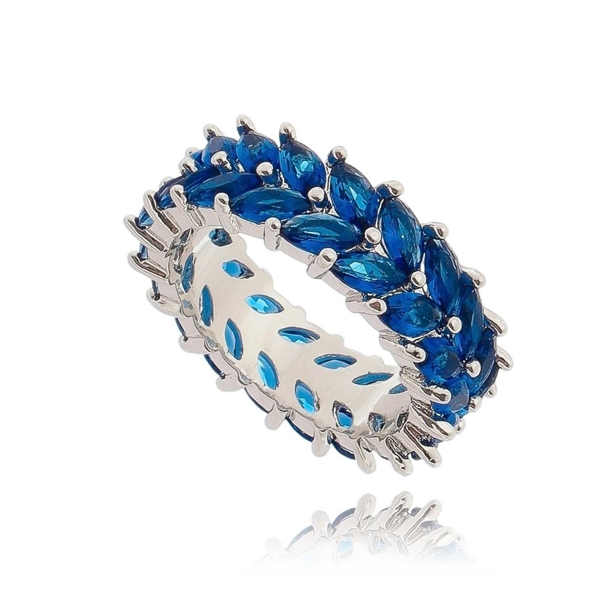 426e5a72a33 Anel Festa Azul Safira Semijoia em Ródio Branco com Zircônia - Soloyou ...