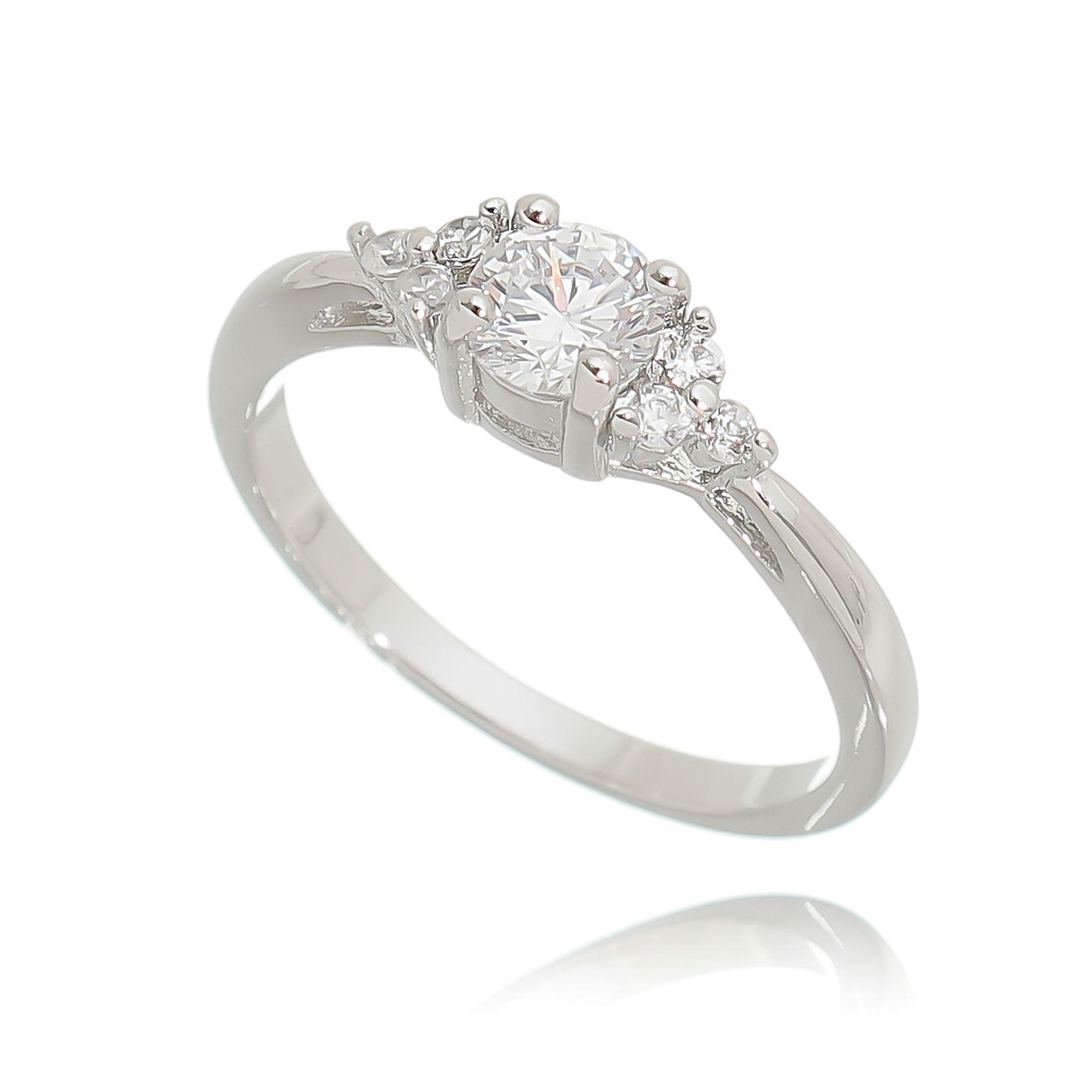 Anel Fino com Pedra Zircônia Cristal Semijoia Fina Ródio Branco  - Soloyou