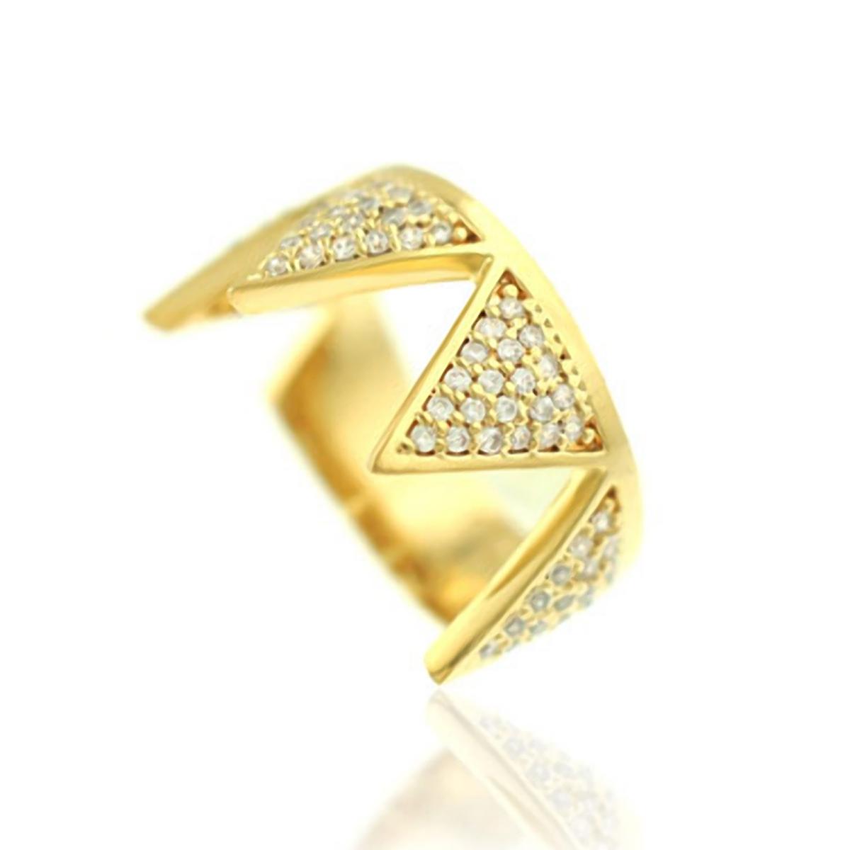 Anel Geométrico Semijoia em Ouro 18K com Micro Zircônia Branca  - SOLOYOU