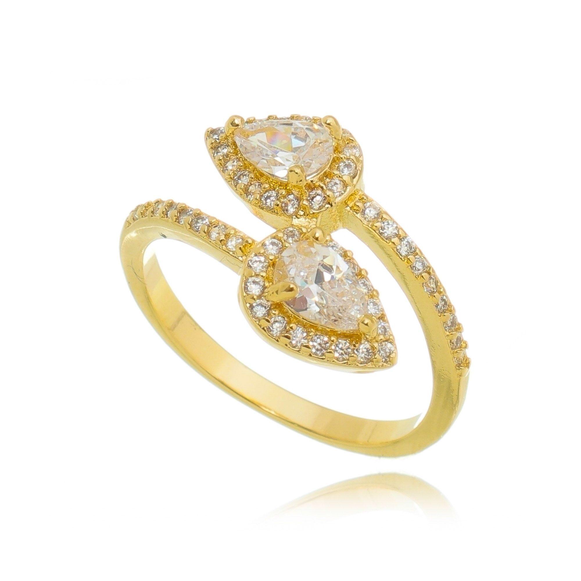 Anel Gota Dourado de Zircônia Cristal Semijoia em Ouro 18K  - Soloyou