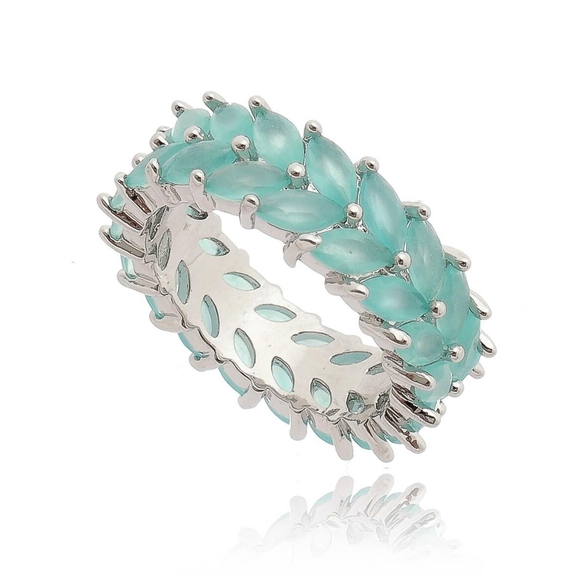 Anel Luxuoso Azul Claro Semijoia da Moda em Ródio Branco  - Soloyou