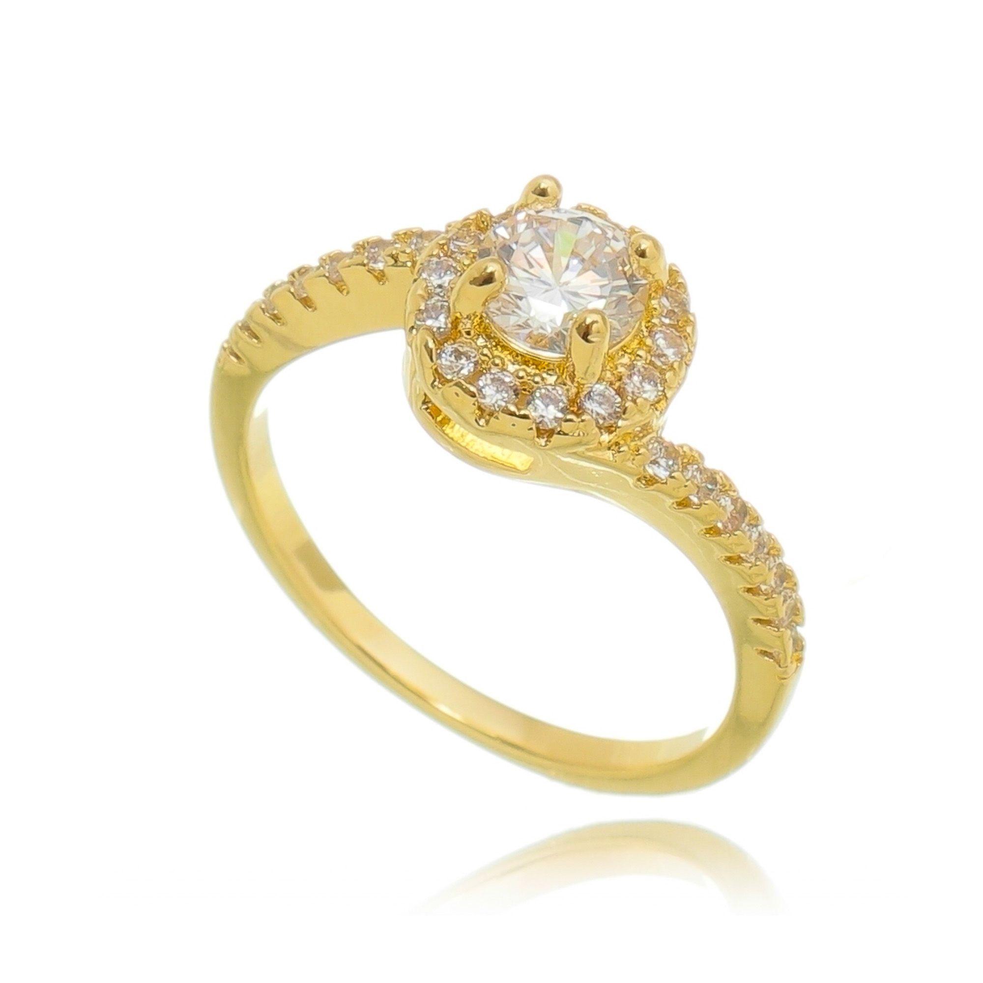 Anel Solitário de Zircônia Cristal Semijoia Luxuosa em Ouro 18K  - SOLOYOU