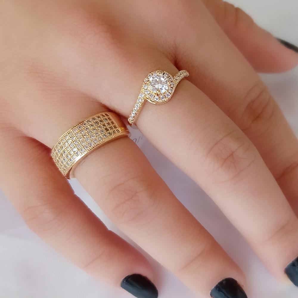 Anel Zircônia Cristal 5 Linhas Dourado Semijoia Luxo Ouro  - Soloyou