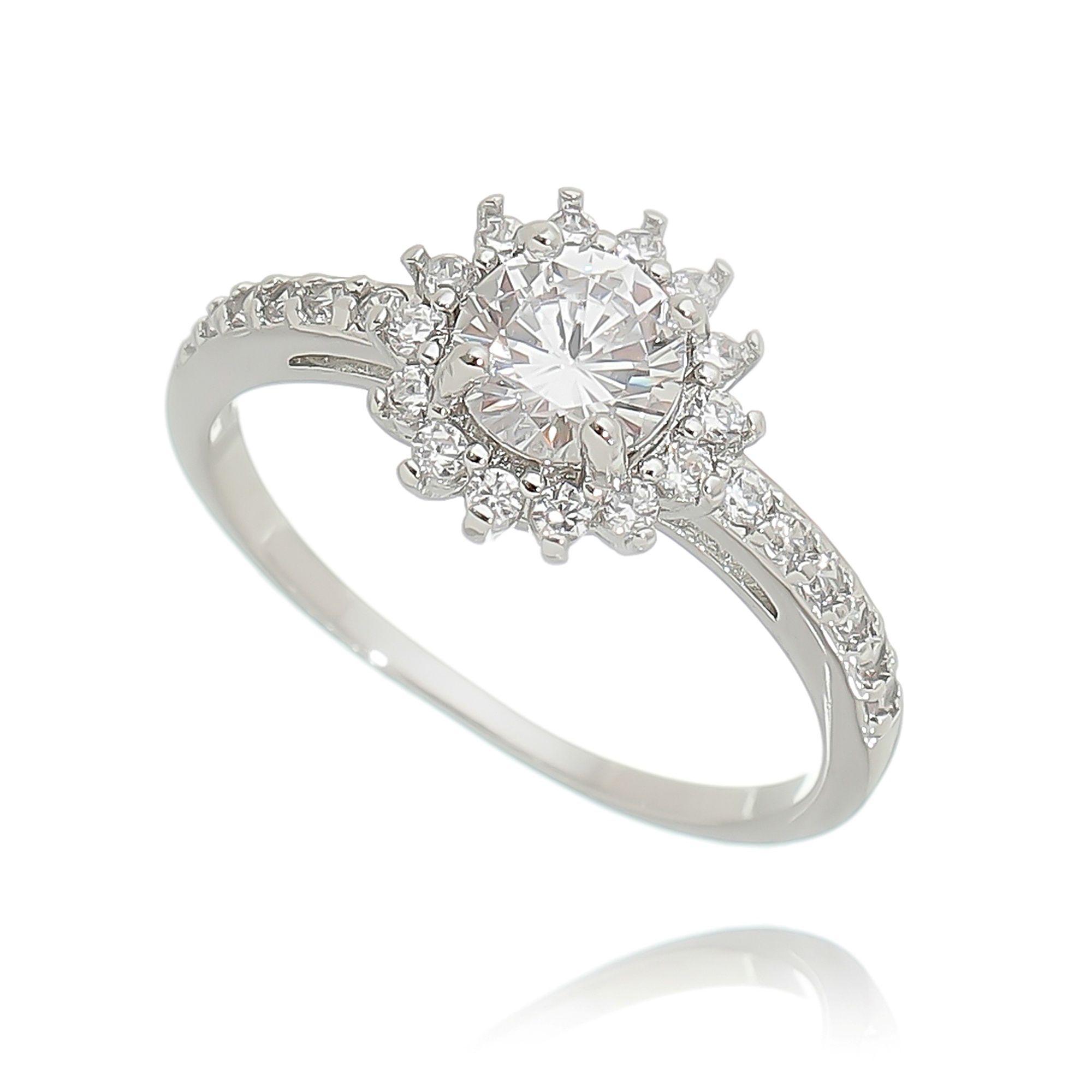 Anel Chuveirinho Zircônia Cristal Semijoia Ródio Branco  - Soloyou