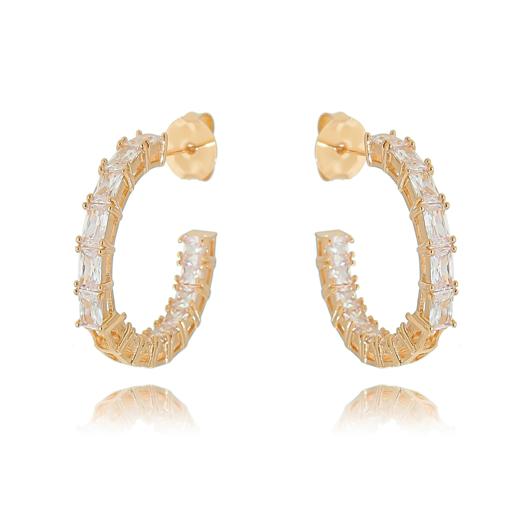 Argola Cristal Zircônia Ouro Rosé Semijoia Fashion  - Soloyou