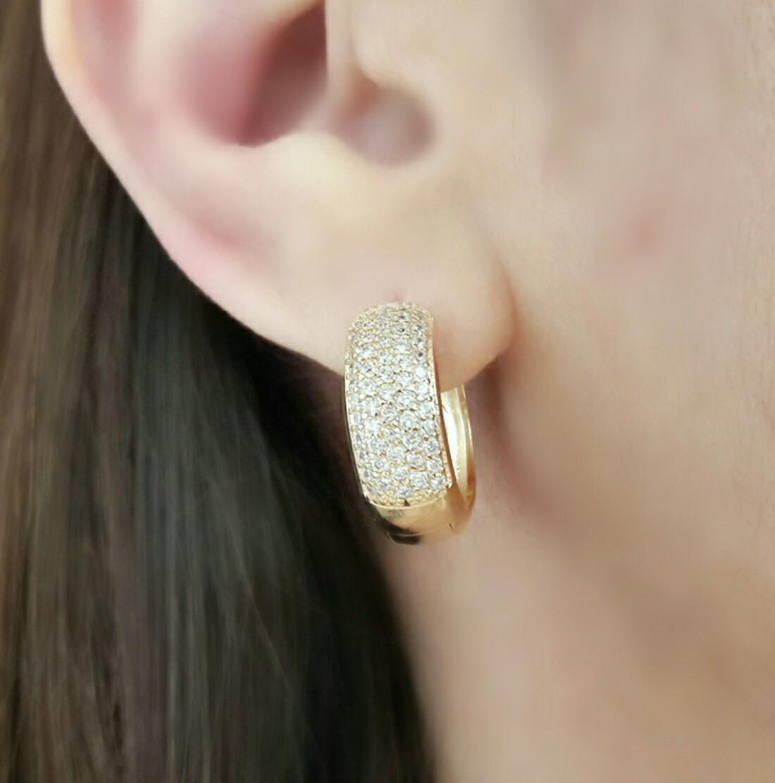 Argola de Zircônia Branca Grande Semijoia em Ouro 18K  - Soloyou