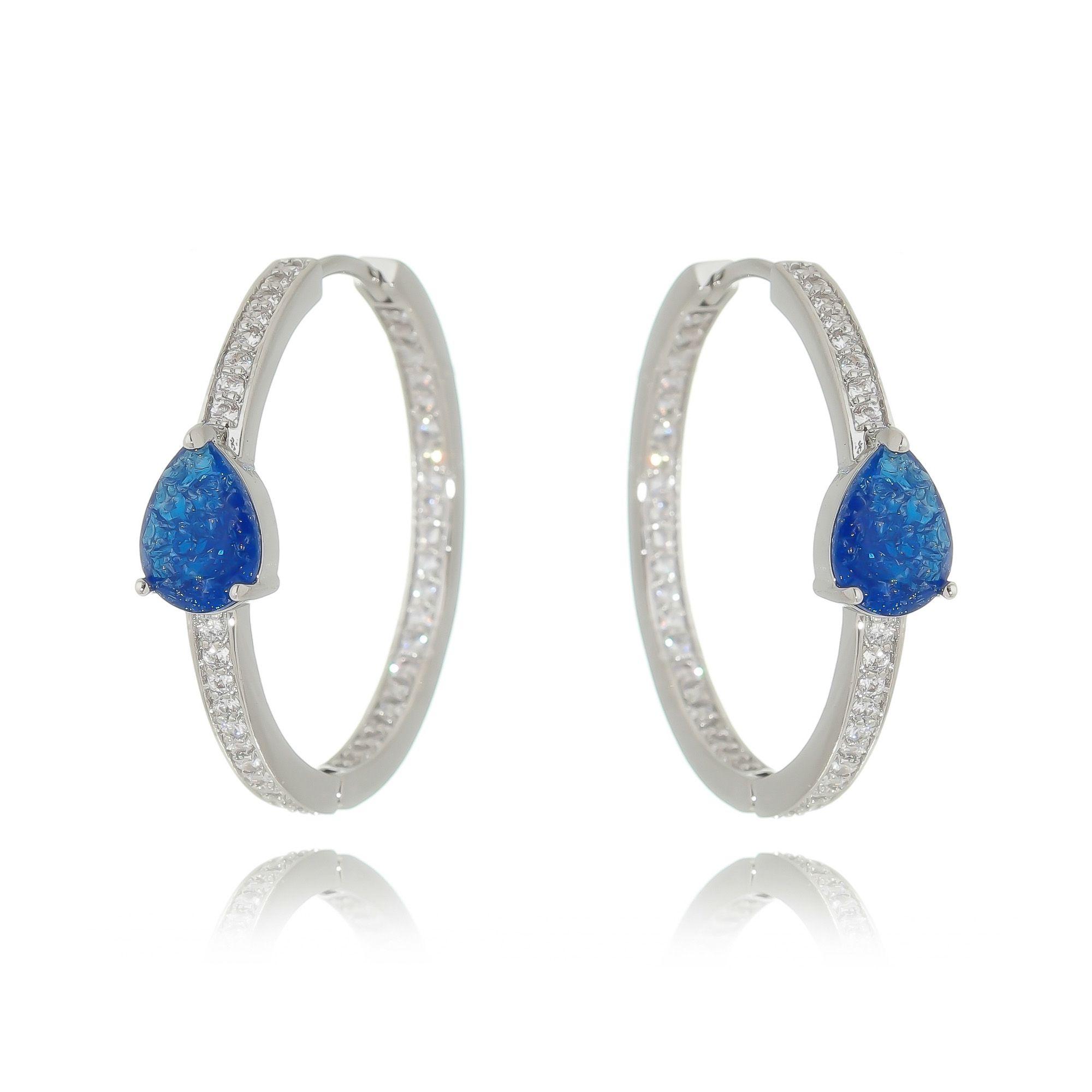 Argola Gota Fusion Azul com Zircônia Semijoia Ródio Branco  - Soloyou