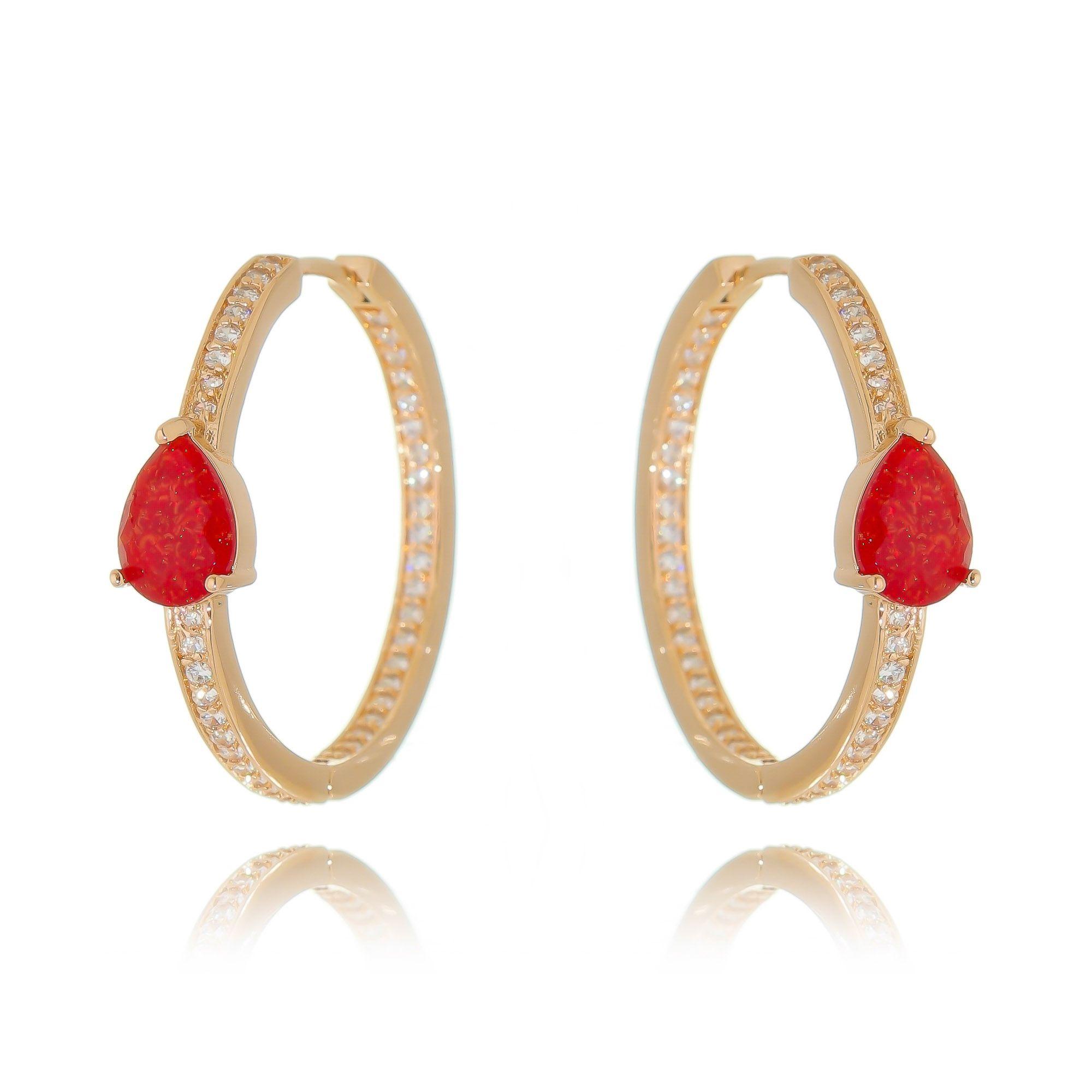 Argola Pedra Fusion Rubi e Zircônia Branca Semijoia Ouro Rosé  - Soloyou