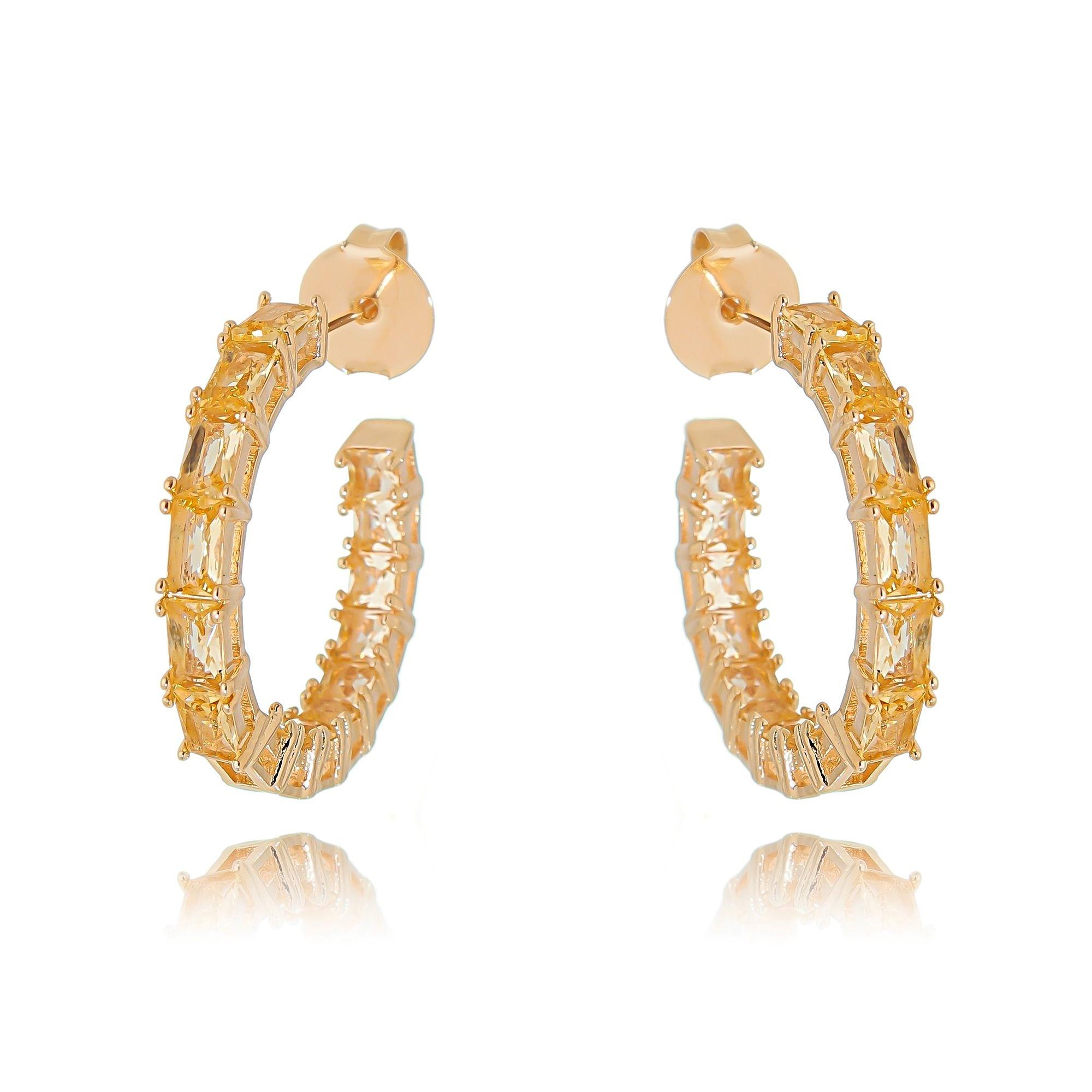 Argola Pedras Morganita Semijoia Fashion Ouro Rosé  - Soloyou