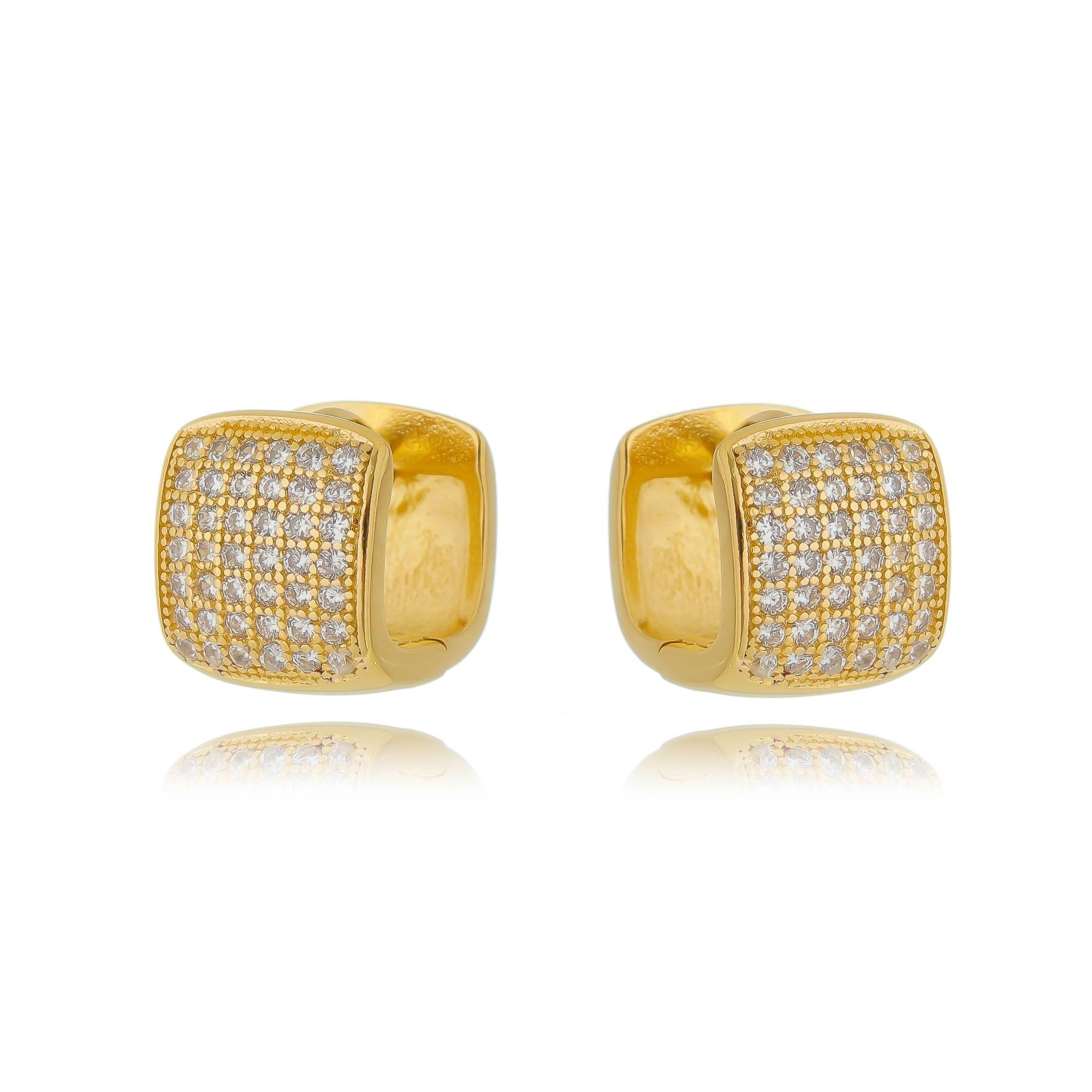 Argola Quadrada Pequena Dourada Zircônia Semijoia Ouro  - Soloyou