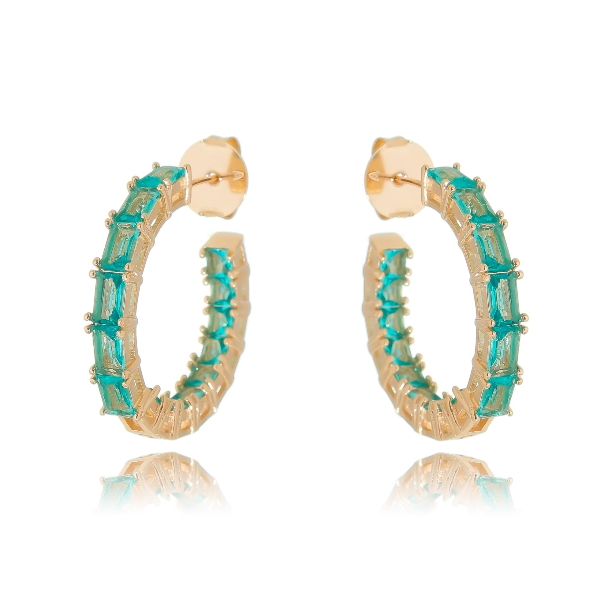 Argola Turmalina Fashion Cravejada Semijoia Ouro Rosé  - Soloyou