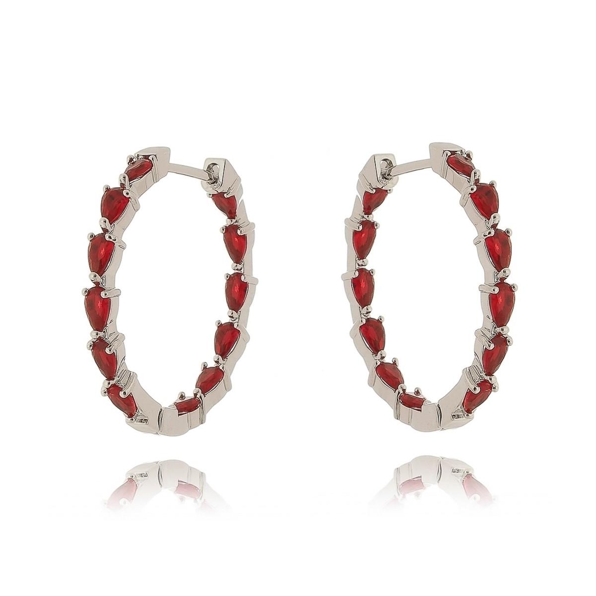 Argola Vermelha Rubi Semijoia Fashion em Ródio Branco  - Soloyou