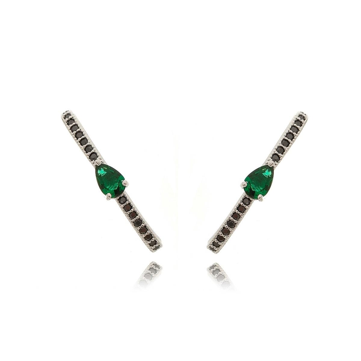 Brinco Anzol Ear Hook com Zircônia Gota Esmeralda e Negra Semijoia em Ródio Branco  - Soloyou