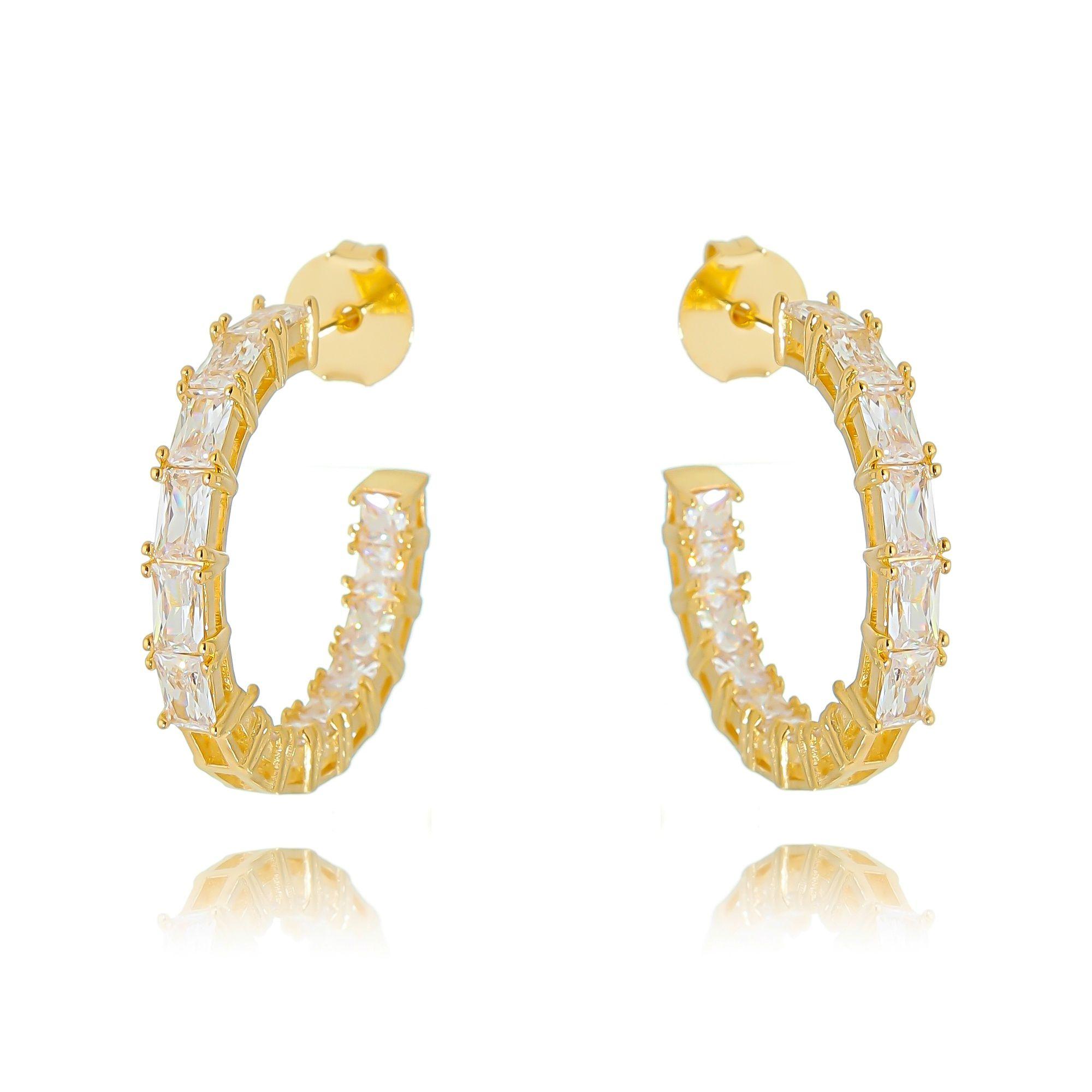 Brinco Argola da Moda Zircônia Cristal Semijoia Ouro  - Soloyou