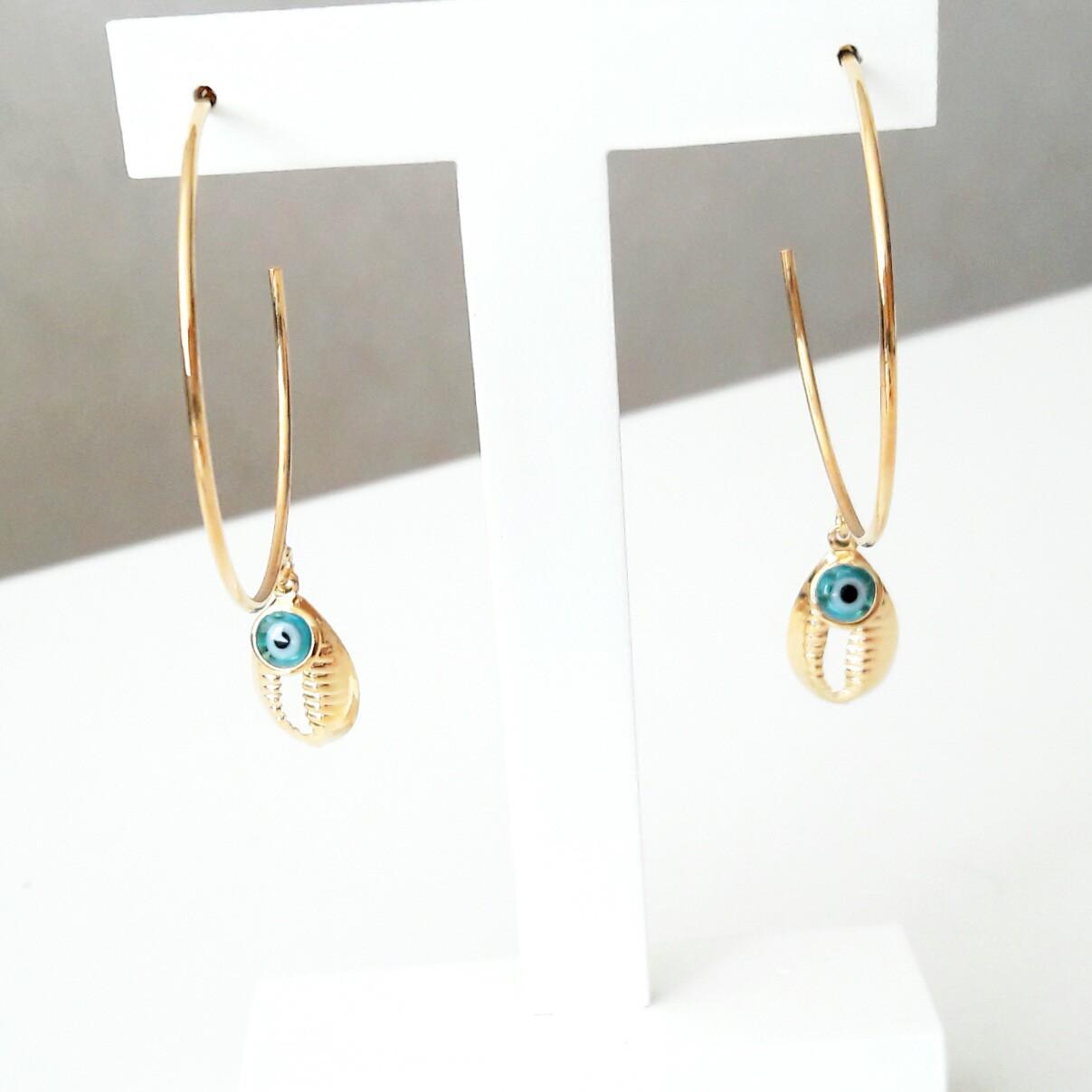 Brinco Argola Olho Grego Azul com Búzio em Ouro 18K  - Soloyou