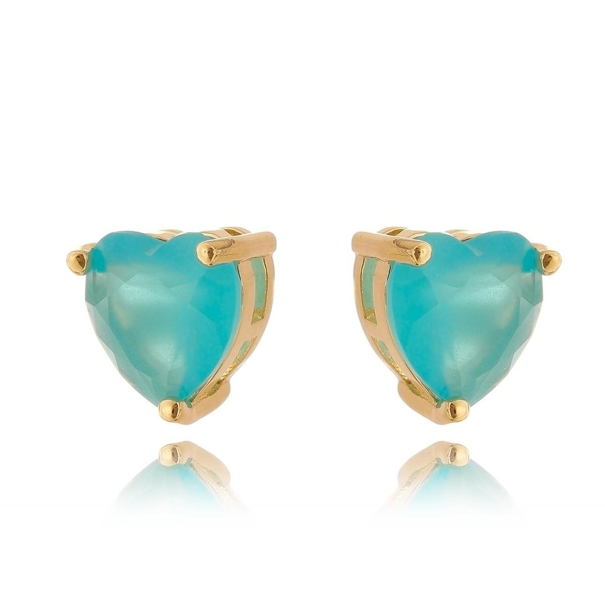 Brinco Azul Claro Coração Semijoia em Ouro 18K   - Soloyou