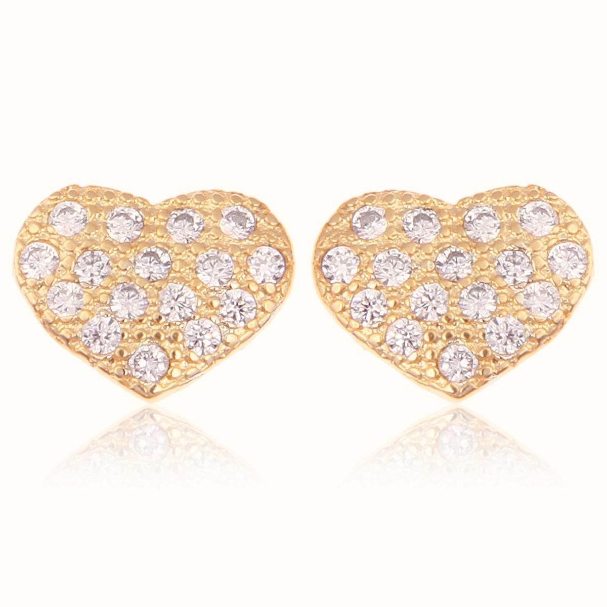 Brinco Coração Cravejado Zircônia Cristal Semijoia em Ouro 18K  - Soloyou