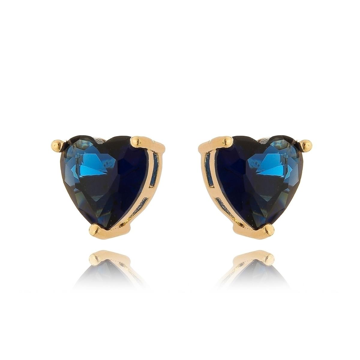 Brinco Coração Pedra Azul Safira Semijoia em Ouro 18K  - Soloyou