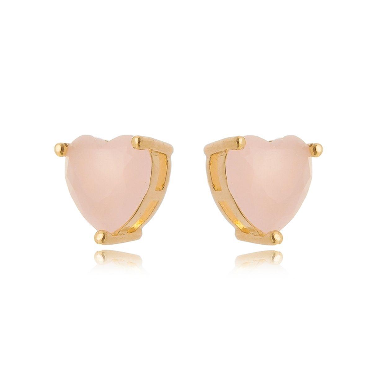 Brinco Coração Pequeno Rosa Semijoia em Ouro 18K  - Soloyou
