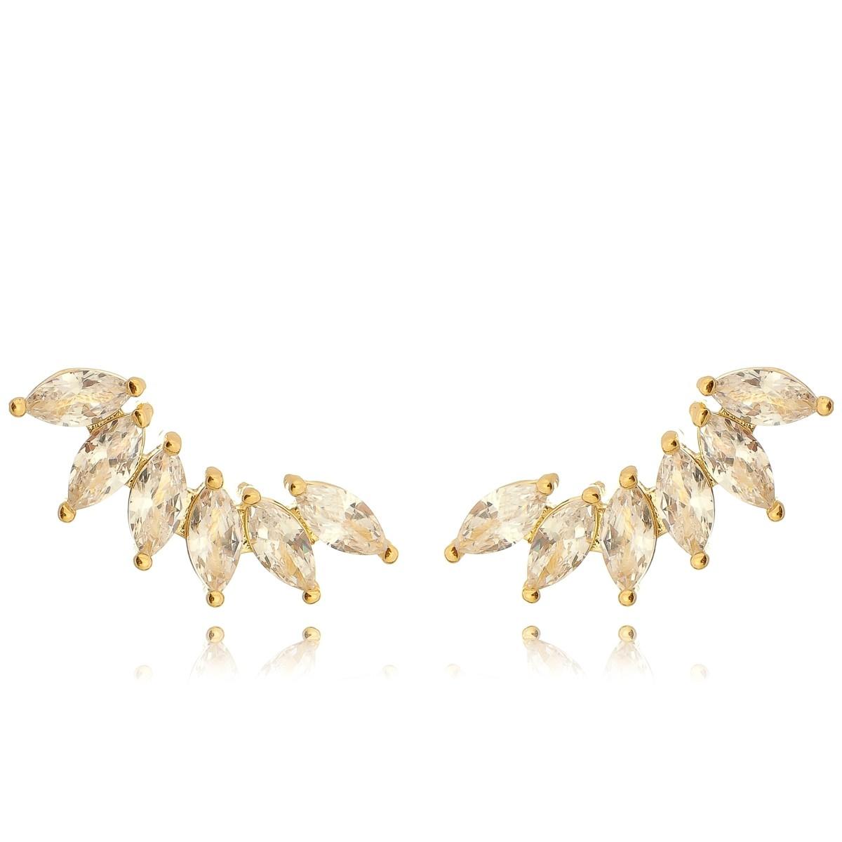 Brinco da Moda Ear Cuff Navete Semijoia em Ouro 18K com Zircônia Branca Brilhante  - Soloyou