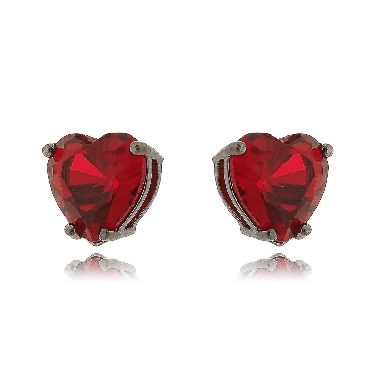 Brinco de Coração Rubi Vermelho 10 mm Semijoia em Ródio Negro  - SOLOYOU