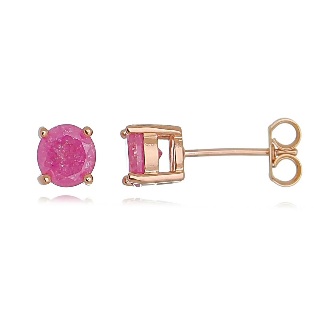 Brinco Delicado Ponto de Luz Rosa Fusion Banhado a Ouro Rosé Semijoia  - Soloyou