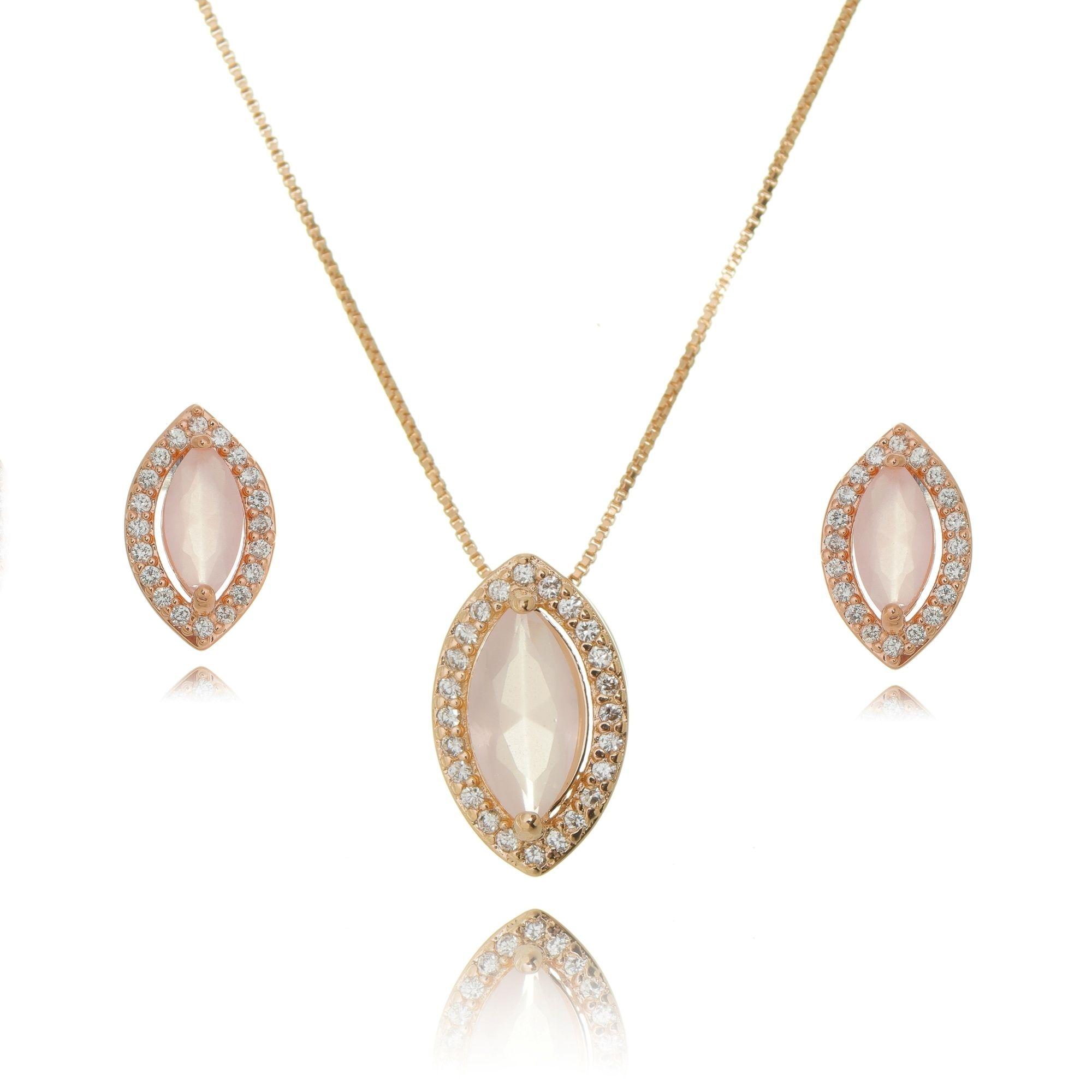Brinco e Colar Quartzo Rosa Navete e Zircônia Cristal Ouro Rosé Semijoia  - Soloyou