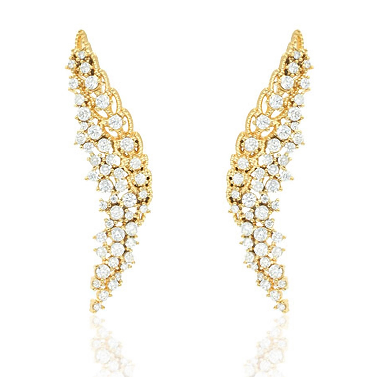Ear Cuff Asa Luxo Semijoia em Ouro 18K com Zircônia Branca - SOLOYOU ... 2f79ff52cf