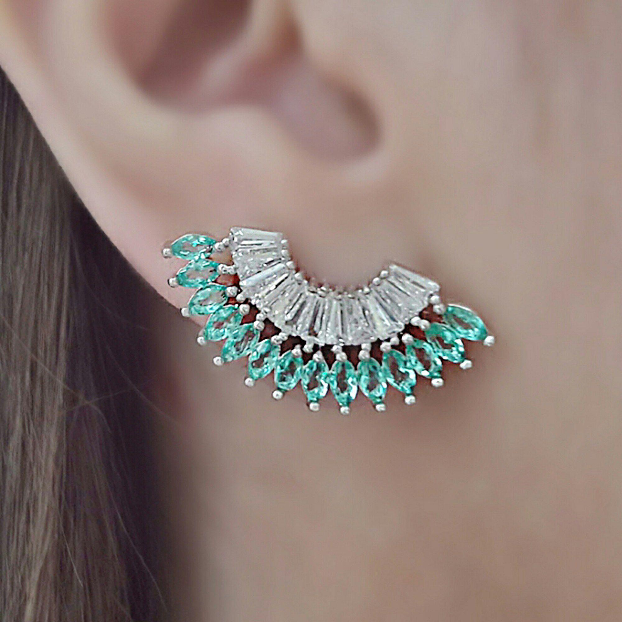 Brinco Ear Cuff de Zircônia Baguete Turmalina Semijoia em Ródio Branco  - Soloyou
