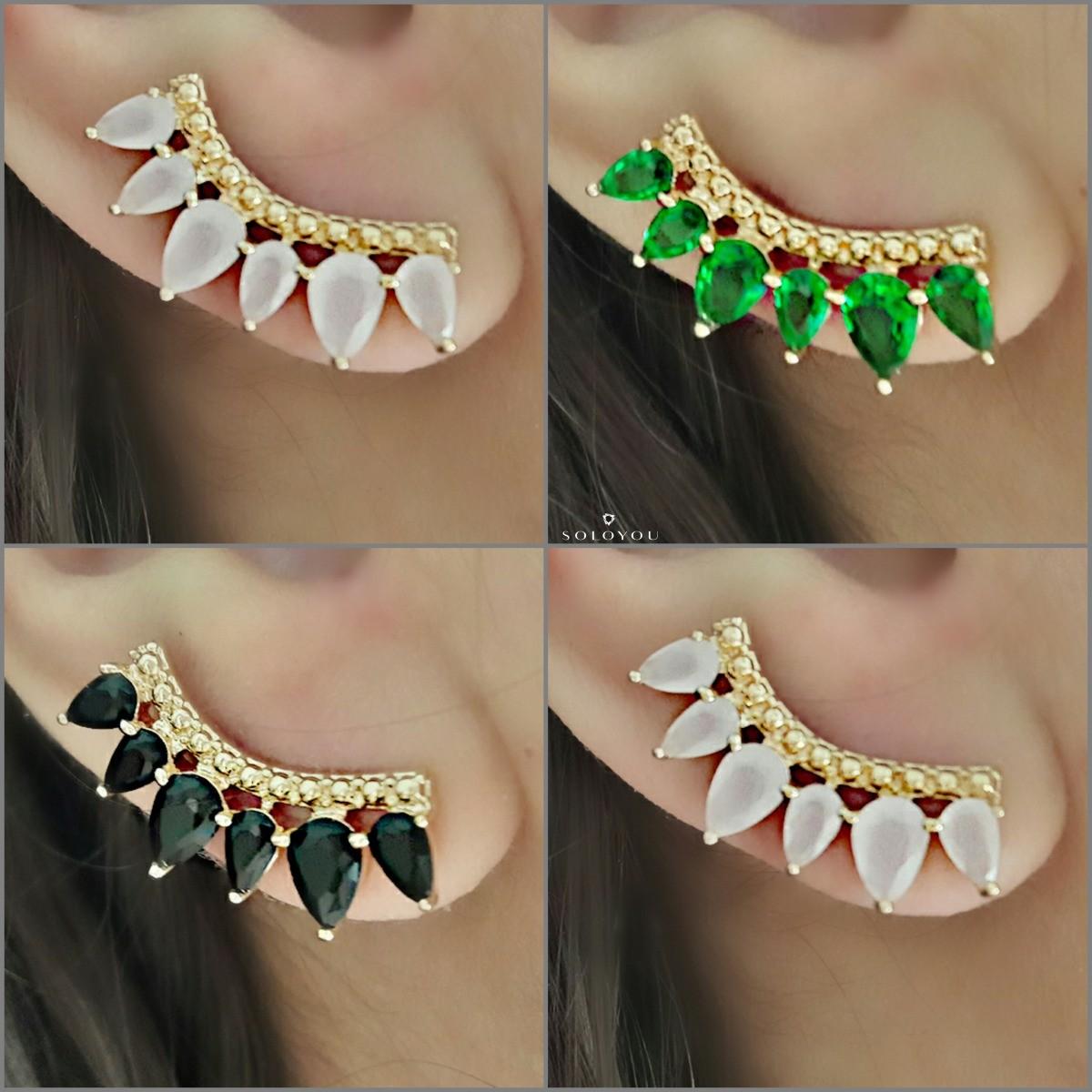 Brinco Ear Cuff de Zircônia Esmeralda Semijoia Ouro 18K  - Soloyou