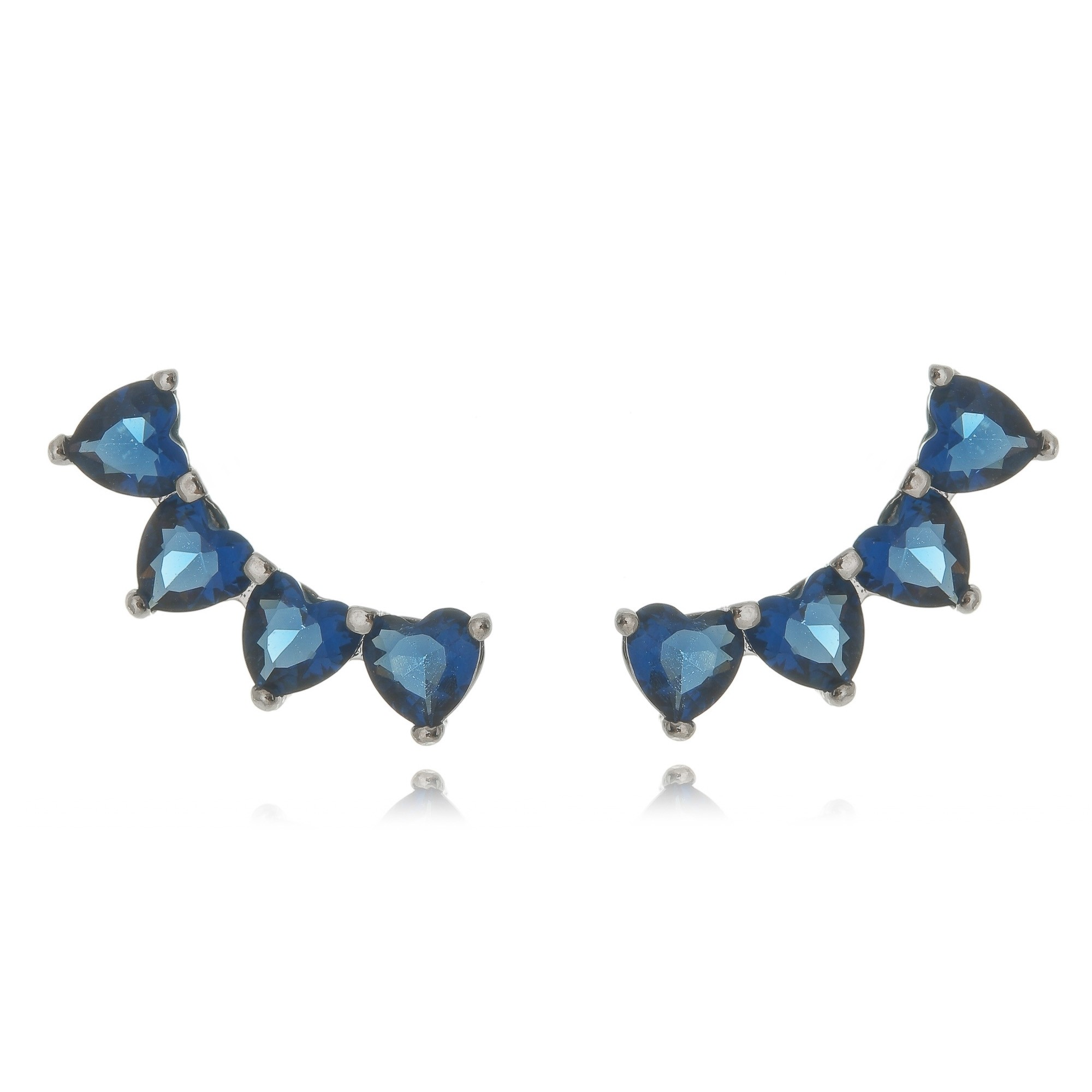 Brinco Ear Cuff Prata Mini Corações Azul Semijoia em Ródio Branco  - Soloyou