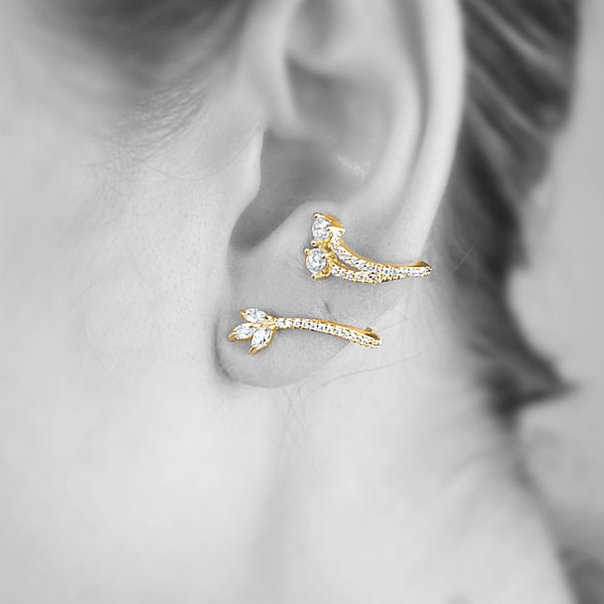Brinco Ear Cuff Ramo Semijoia em Ouro 18K com Zircônia Branca Brilhante  - SOLOYOU
