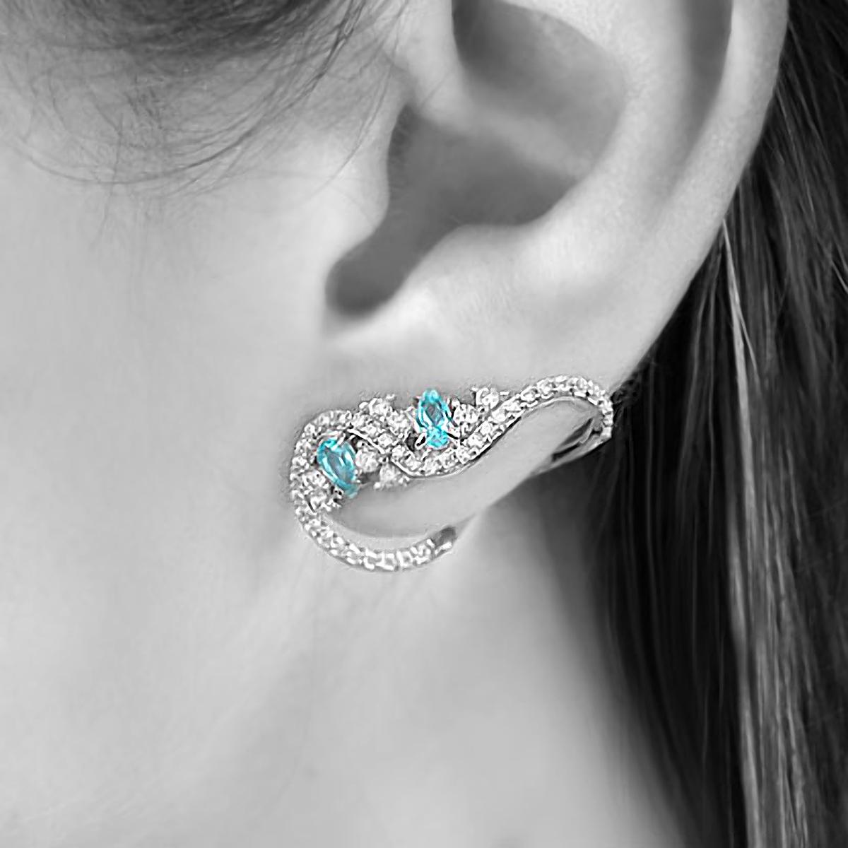 Brinco Ear Cuff Ramo Semijoia em Ródio Branco com Zircônia Branca e Gotas de Cristal Turmalina Azul  - Soloyou