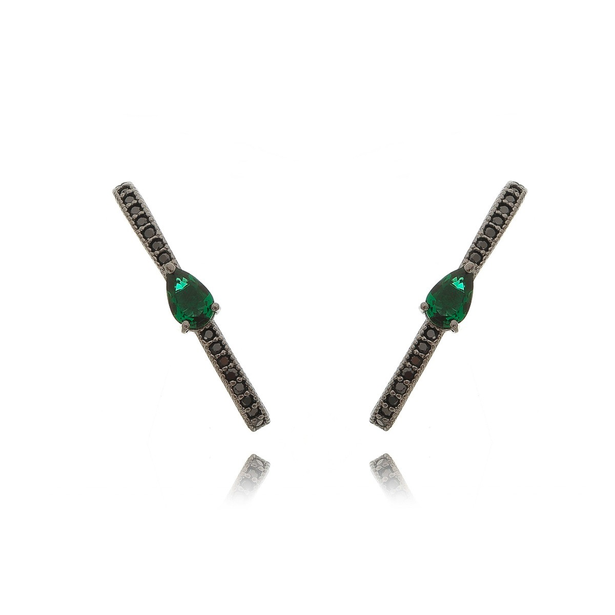 Brinco Ear Hook da Moda com Zircônias Esmeralda Gota e Preta Semijoia em Ródio Negro  - Soloyou