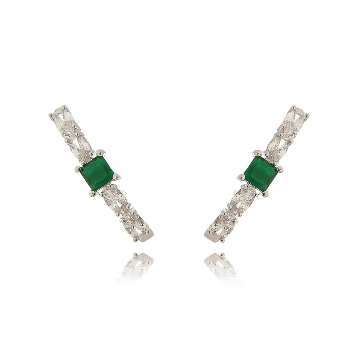 Brinco Ear Hook Semijoia Cravejado Zircônia Oval Branca e Cristal Esmeralda em Ródio Branco   - Soloyou