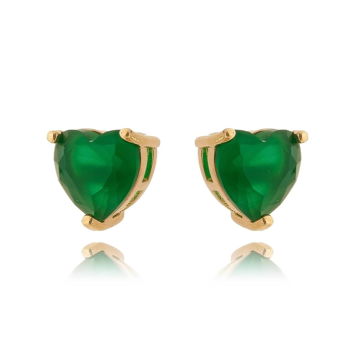 Brinco Esmeralda Dourado Coração Semijoia em Ouro 18K  - SOLOYOU