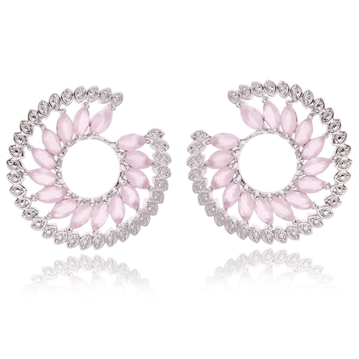 Brinco Espiral Luxury Semijoia em Ródio Branco com Zircônia Quartzo Rosa  - Soloyou