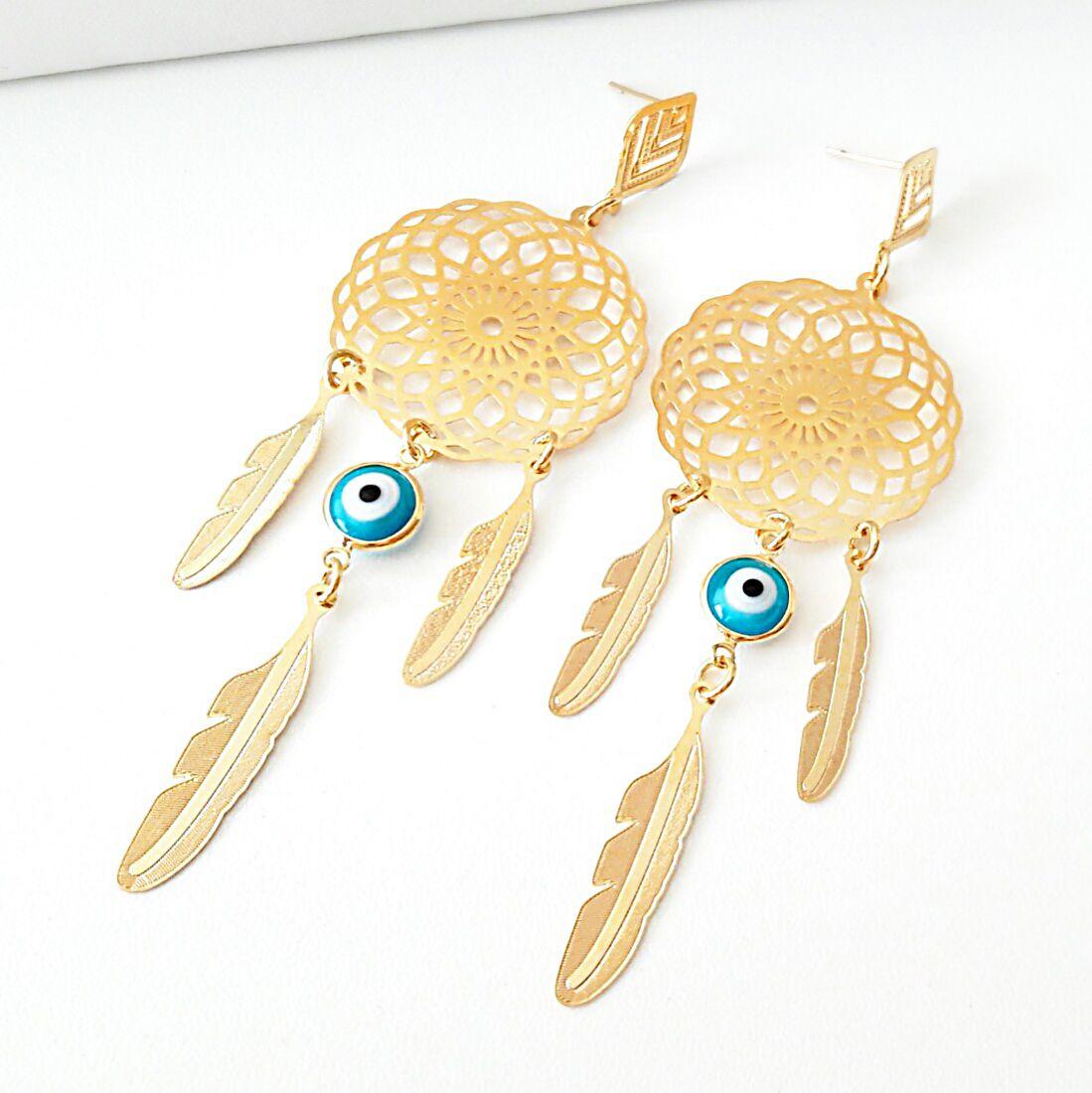 Brinco Filtro dos Sonhos com Olho Grego Azul em Ouro 18K  - Soloyou