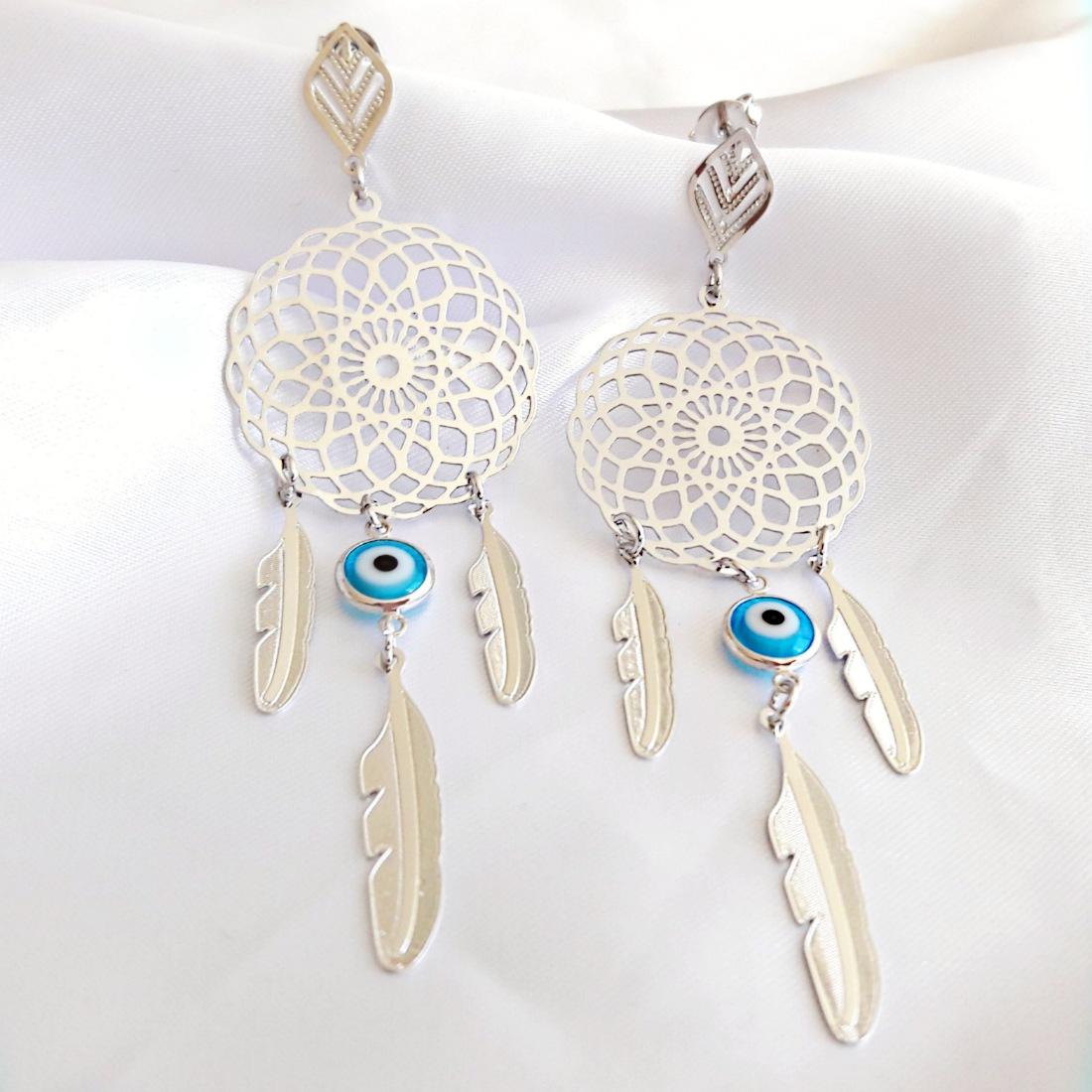 Brinco Filtro dos Sonhos e Olho Grego Azul em Ródio Branco  - Soloyou