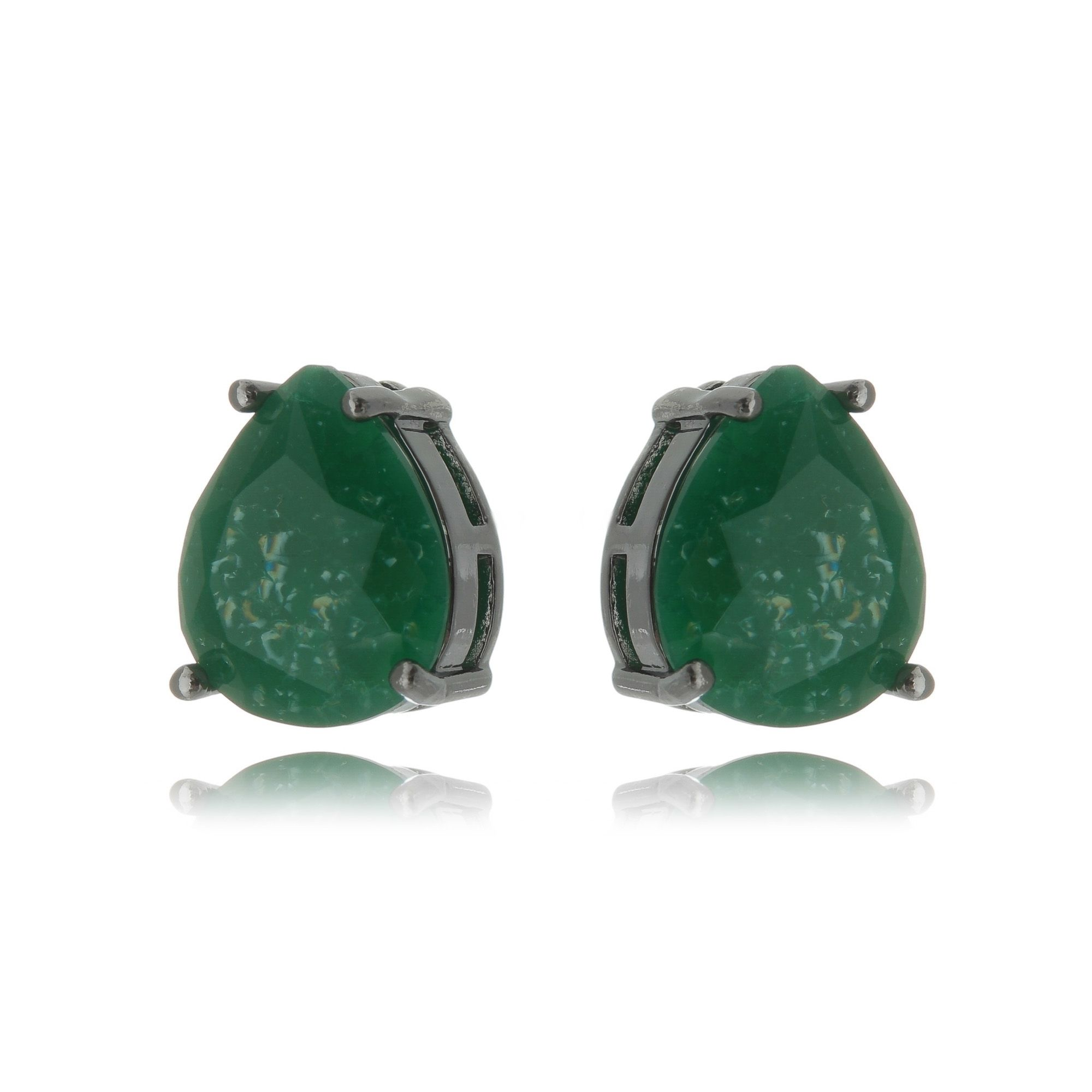 Brinco Fusion Verde Esmeralda Gota 10 x 12 mm Semijoia Fina em Ródio Negro  - Soloyou