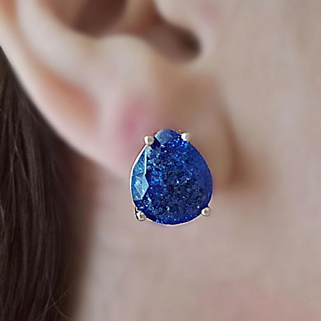 Brinco Gota Azul Safira Fusion 10 x 12 mm Ródio Branco Semijoia Fashion  - Soloyou