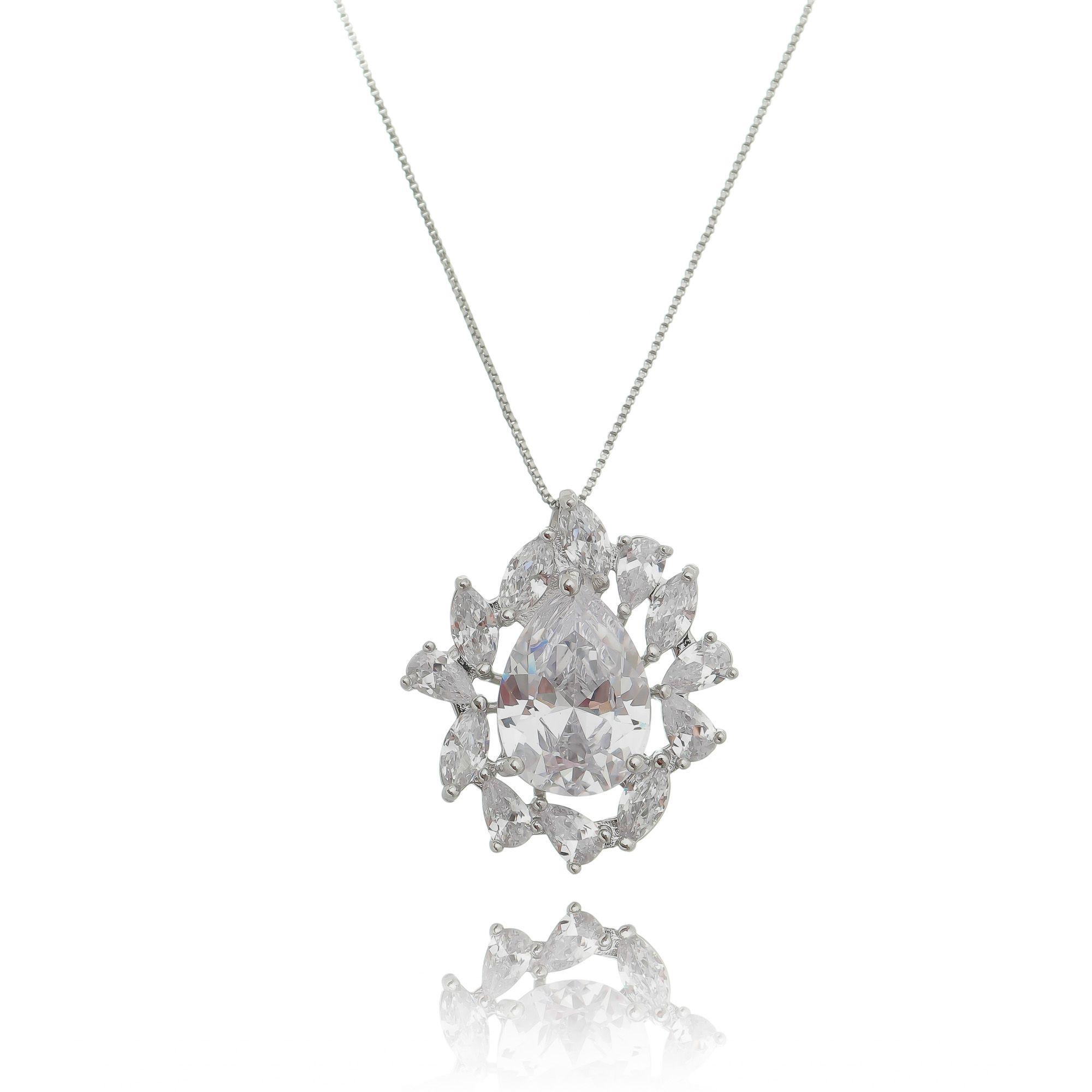 Colar Gota Zircônia Cristal Semijoia Ródio Branco  - Soloyou