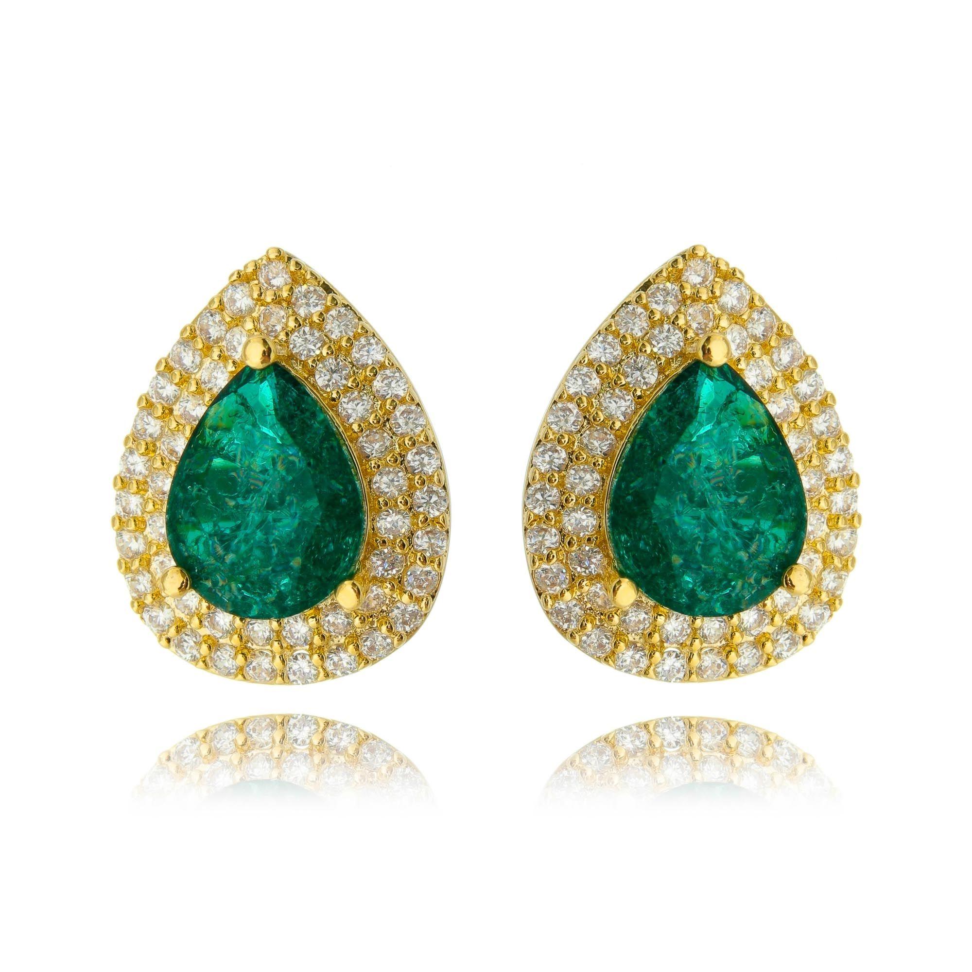 Brinco Gota Fusion Esmeralda com 2 Molduras de Zircônia Cristal Semijoia Ouro  - Soloyou