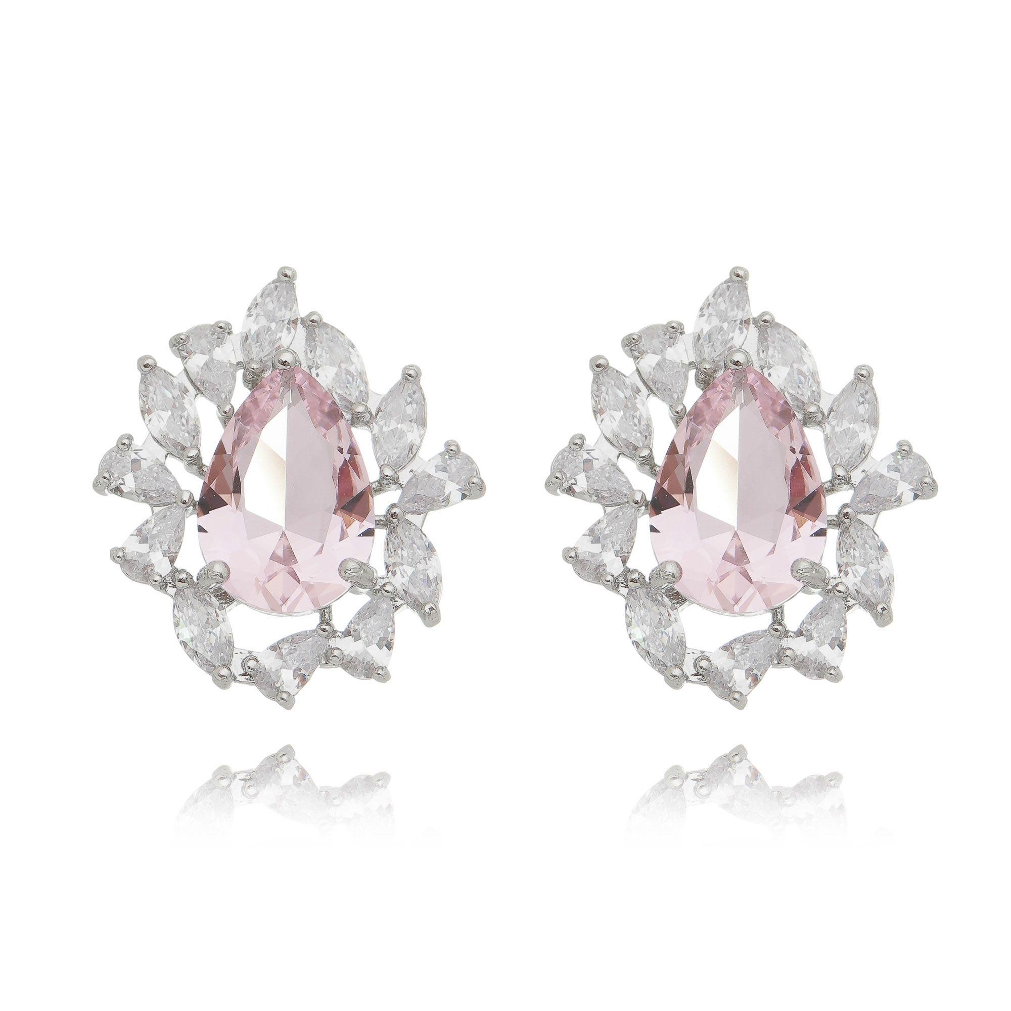 Brinco Gota Rosa e Zircônia Branca Luxo Semijoia Ródio Branco  - Soloyou