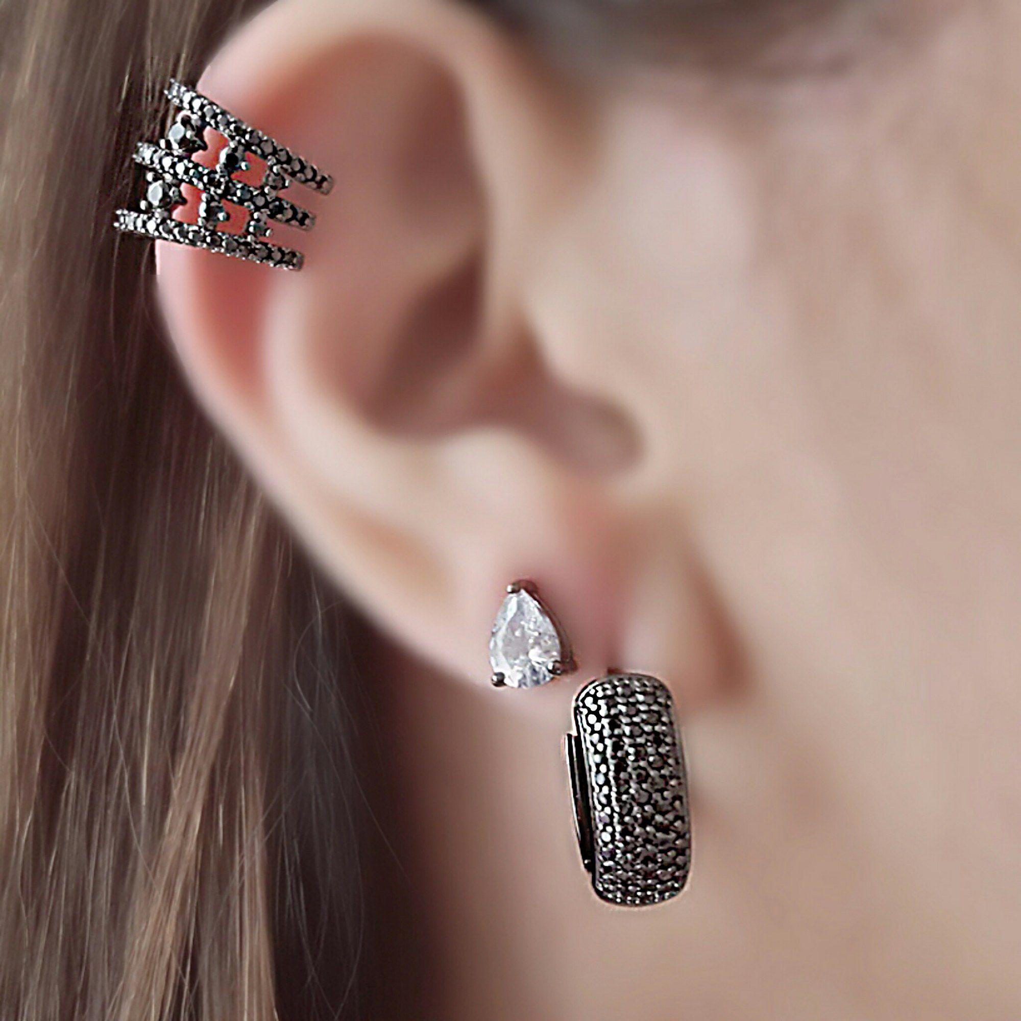 Brinco Mini Gota Zircônia Cristal Semijoia em Ródio Negro  - Soloyou