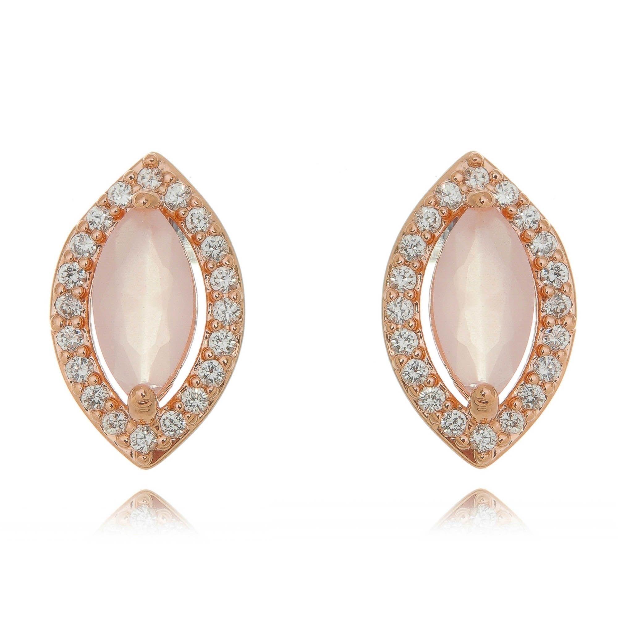 Brinco Ouro Rosé Quartzo Rosa e Zircônia Cristal Semijoia Fina  - Soloyou