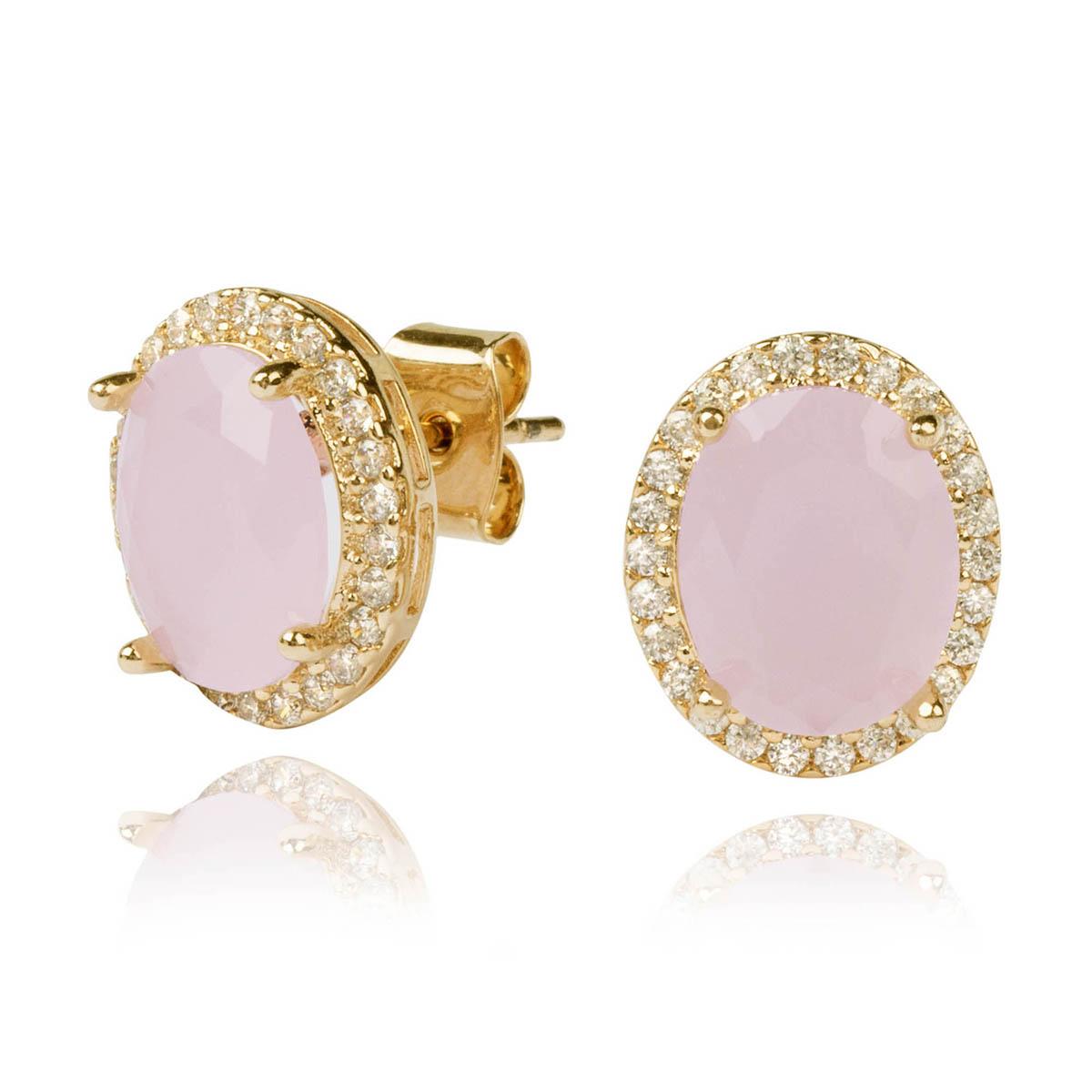Brinco Oval Semijoia em Ouro 18K com Zircônias Quartzo Rosa Leitoso e Branca  - SOLOYOU