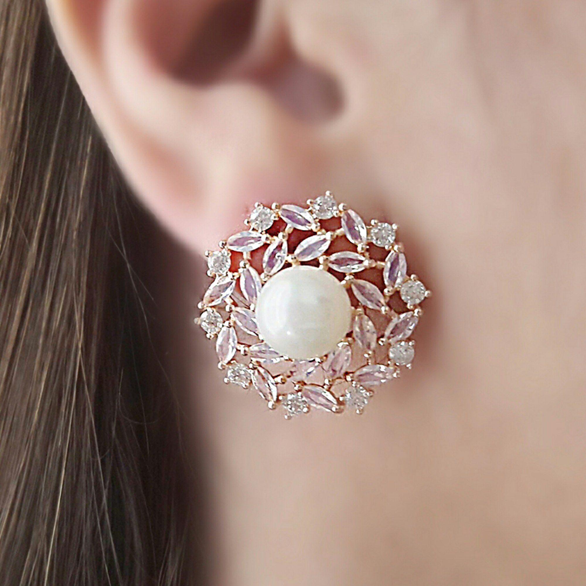 Brinco Pérola Noiva Semijoia Ouro Rosé Zircônia Branca e Cristal Rosa  - Soloyou