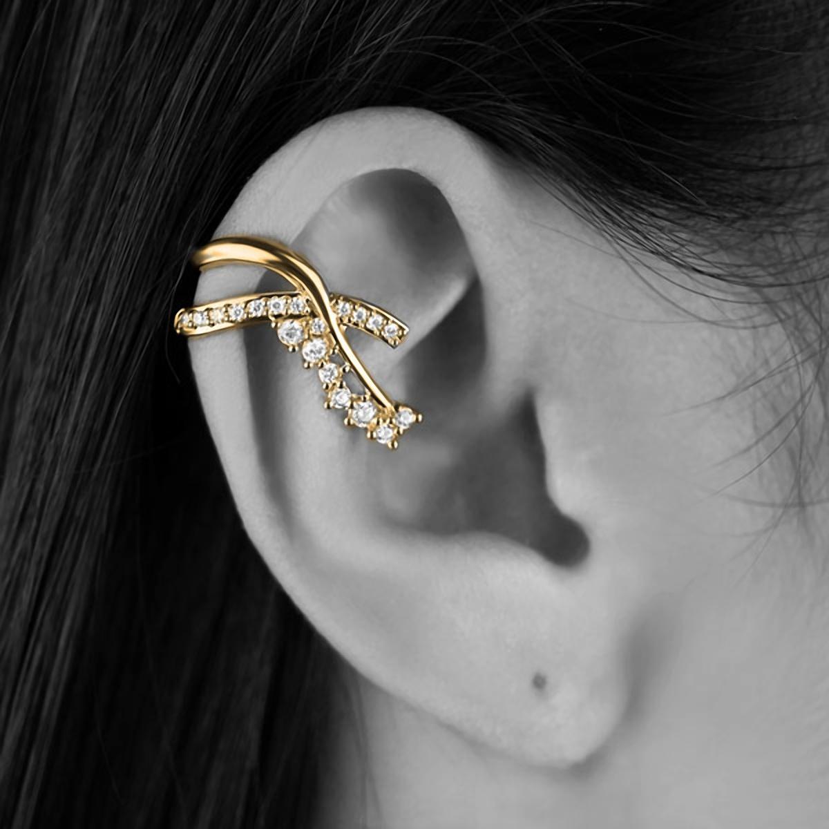 Brinco Piercing de Pressão Laço Semijoia em Ouro 18K com Zircônia Branca (par)  - Soloyou