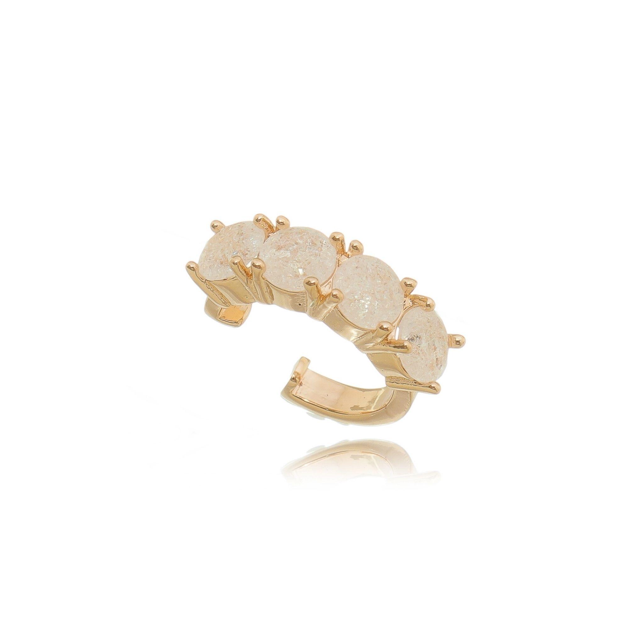 Brinco Piercing Falso Ouro Rosé Semijoia Luxo com Pedra Fusion Cristal  - SOLOYOU